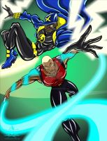 STATIC SHOCK AND AQUA LAD by chriscrazyhouse