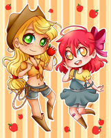 Chibi Apple Sisters by Cysco-Inu