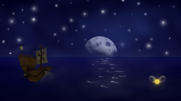 Pirate Ship Sailing the Sky (Rayman 2) by DeathChef