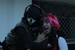 Ghost with pinked hair ultranasionalist cosplayer? by PrincessOfCrime