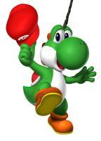 Yoshi with a unicorn horn by e1ectricthunder