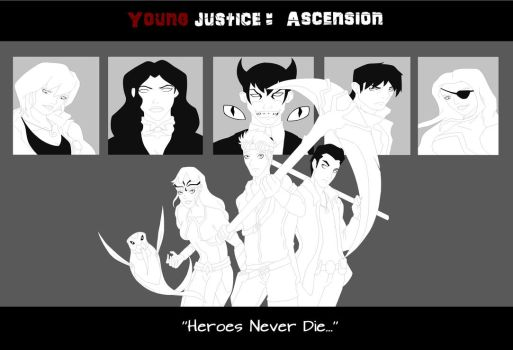Young justice: Ascension (uncolloured) by WickedCurlyFeather