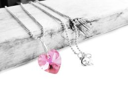 Swarovski Rose Pink AB Heart Crystal Necklace by crystaland