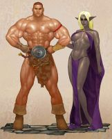 Barbarian and Drow by ArtbroSean