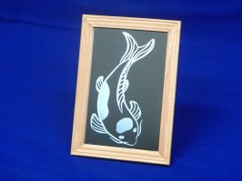 Koi etched mirror by VikingSheep