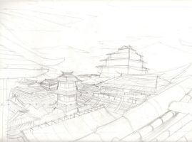 japenese town sketch work by richardlively83