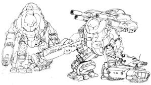 SGT with Mechs by SabrinaDBlood