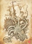 kraken unleashed by PaperCutIllustration