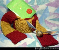 Gryffindor Scarf 1 + Quidditch n Snitch by SmilingMoonCreations