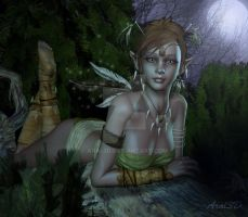 In the forest in the night by Aral3D