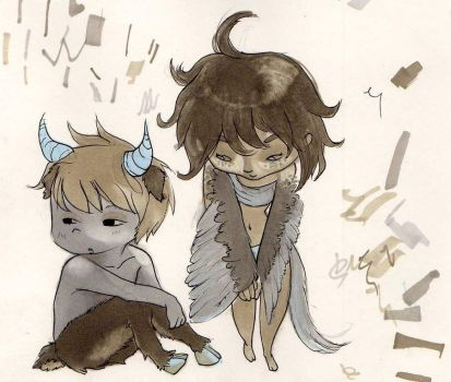 Harpy and Minotaur by Lis-chan