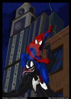 Spiderman vs venom colored by solid-snake92