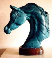 Lost Wax Bronze Horse Head Sculpture On Wood Base by ahamiltonmsh