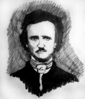 Portrait of Edgar Allan Poe by filmshirley
