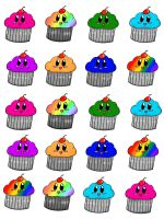 Cupcake stickers by EmilyChan