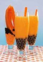 Papay Bubble Milk Tea with Papaya Wedges by theresahelmer