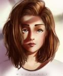 brown haired girl by myjerart