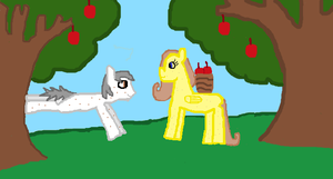 Golden Delicious and Doozer in the Orchird by GingerLuna