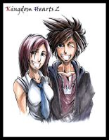 kh2 sketch - sora and kairi by irving-zero