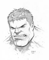 Hulk head sketch commission by FlowComa