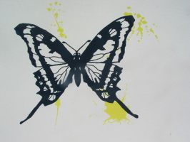 Butterfly Silk Screen Navy blue/yellow by Setsuna-hime