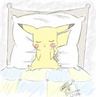 SLEEPING PIKACHU by Sweetochii