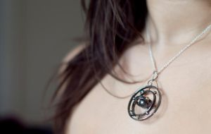 Spinning Silver Solar System with Gold Earth by MirielDesign
