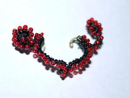 Red and black wire ear cuff No.1 by Jessicapilot901