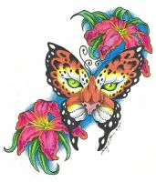 Leopard Butterfly - colored by Wolfish-Dreams