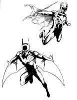 Batman Beyond and Spiderman 2099 - Inked by MrSinister616