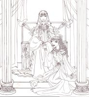 Hades and Persephone: Lineart by nenuiel
