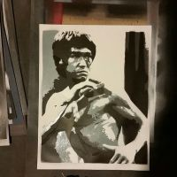 bruce lee handmade spray paint stencil by toolowbrow