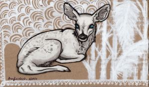 a white and wounded fawn by KipperMay