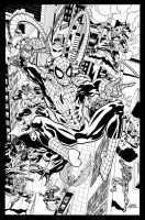 Spiderman Over The City ink by ScottCohn
