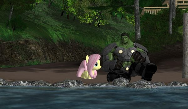 Hulk and Fluttershy Hanging Out by WOLFBLADE111