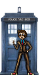Tenth Doctor with the TARDIS by MadCanuckster