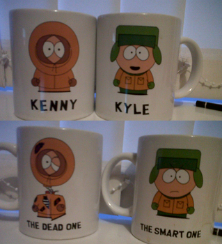 Kenny and Kyle mugs front and back by XMidnightBlazeX