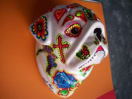 wall mounted sugar skull/ tattoo pug/ ceramic by pookielou