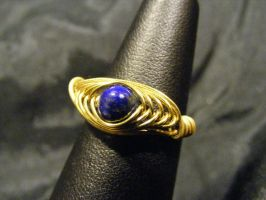 herringbone ring lapis and brass by BacktoEarthCreations