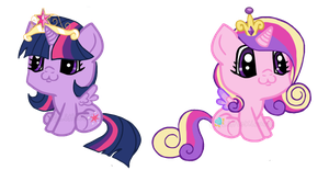 Foal Princess Cadence and Princess Twilight by LittleKirara