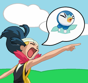 Piplup swapped into Dawn by TheWalrusclown