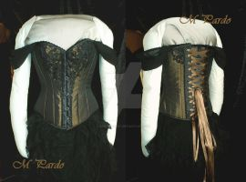Bronze and black guipure corset - Custom work by arcticorset