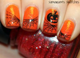 Pumpkin and Spiderwebs Mani by SamariumsSwatches