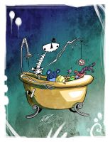 Bathtub Skeleton by BunnyBennett