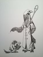 Sketch: Raven Wizard and Apprentice by MadWoodDuck