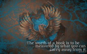 HP Wallpaper : Ravenclaw Lightning (with quote) by TheLadyAvatar