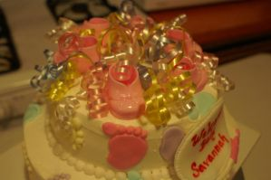 foot print baby shower cake 3 by nlpassions