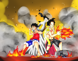 Ace And Luffy by Megalow