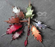 Leather Oak Leaf Hair Slides by Beadmask