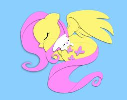 Sleepy Fluttershy Shadowbox digital. by The-Paper-Pony